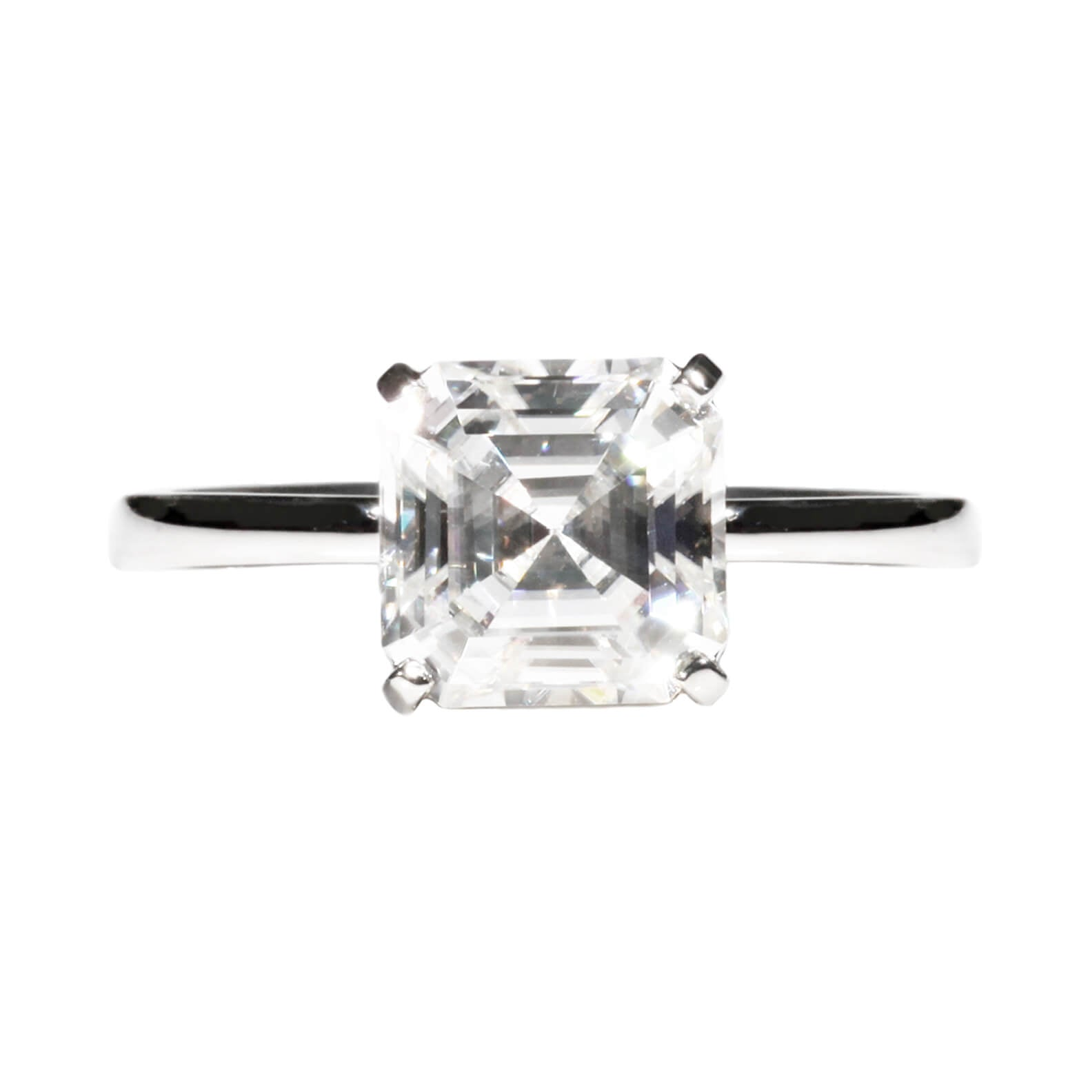 Asscher Moissanite Solitaire in 18K White Gold - LeCaine Gems