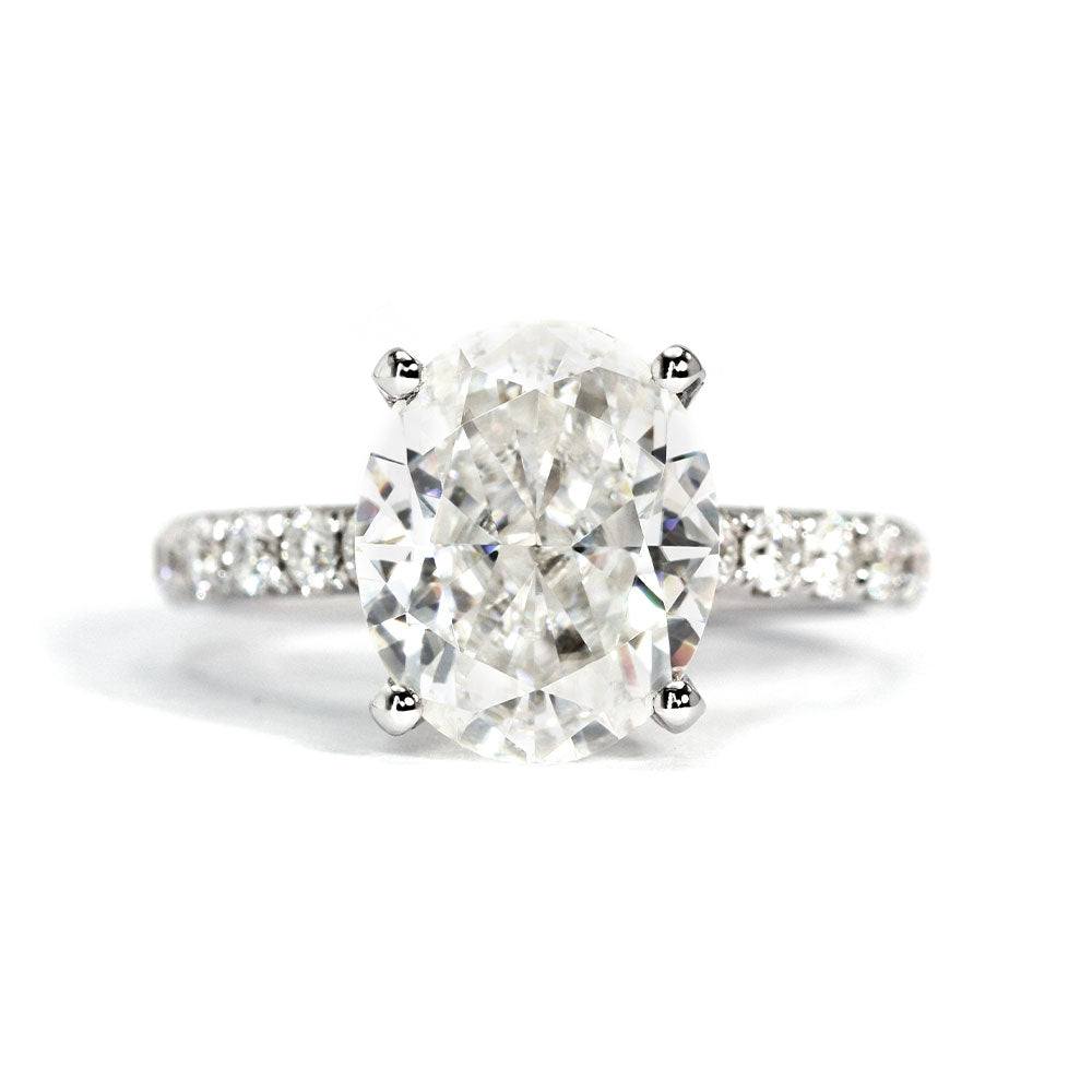 Alexandria Oval Crushed Ice Moissanite Ring - Lecaine Gems Moissanite