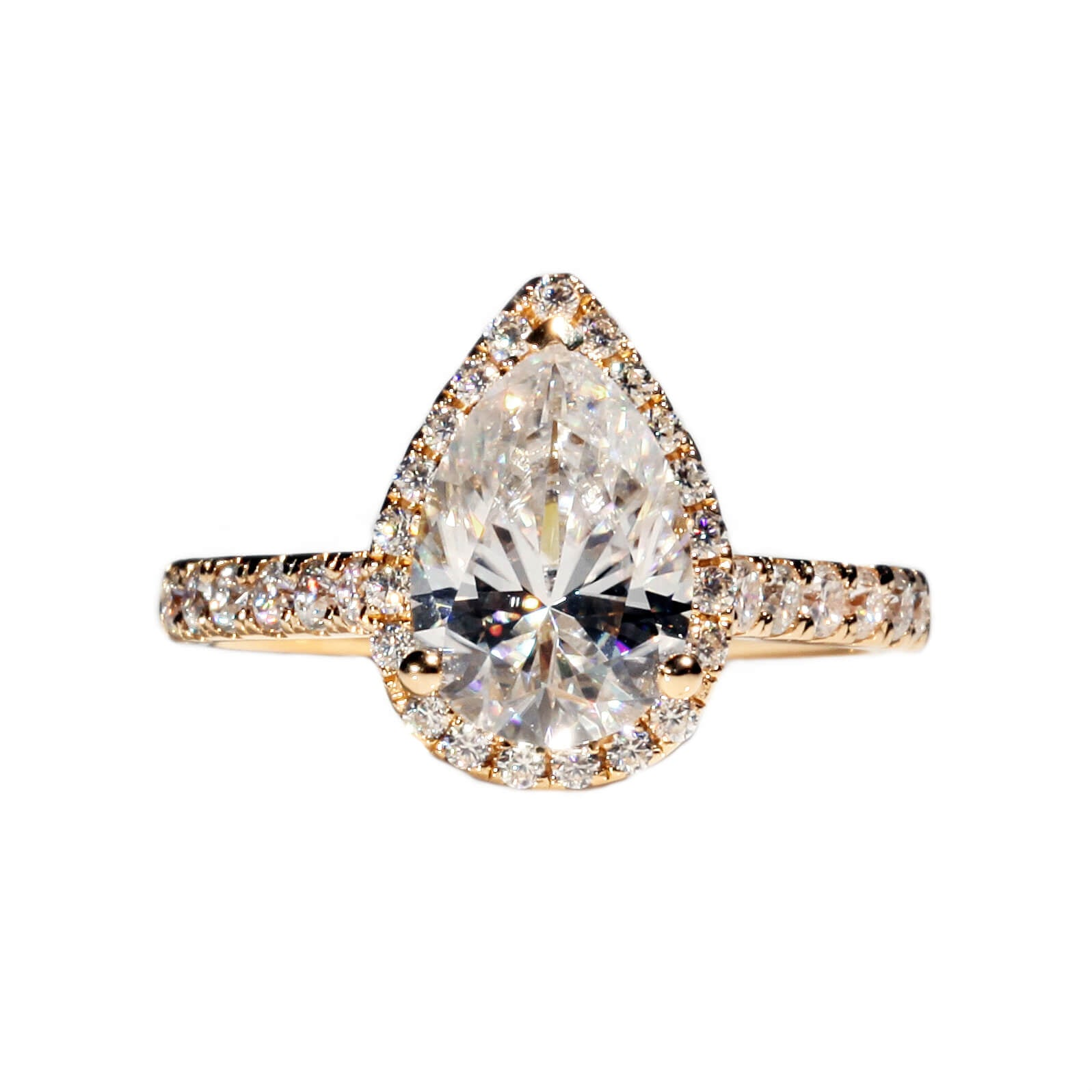 Ready Made | 2.5 Carat Pear-Cut Teardrop Moissanite Halo Ring - LeCaine Gems