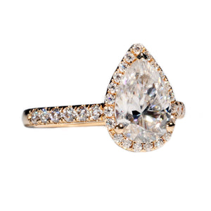 Ready Made | Maisyn 2.5 Carat Pear-Cut Teardrop Moissanite Halo Ring - LeCaine Gems