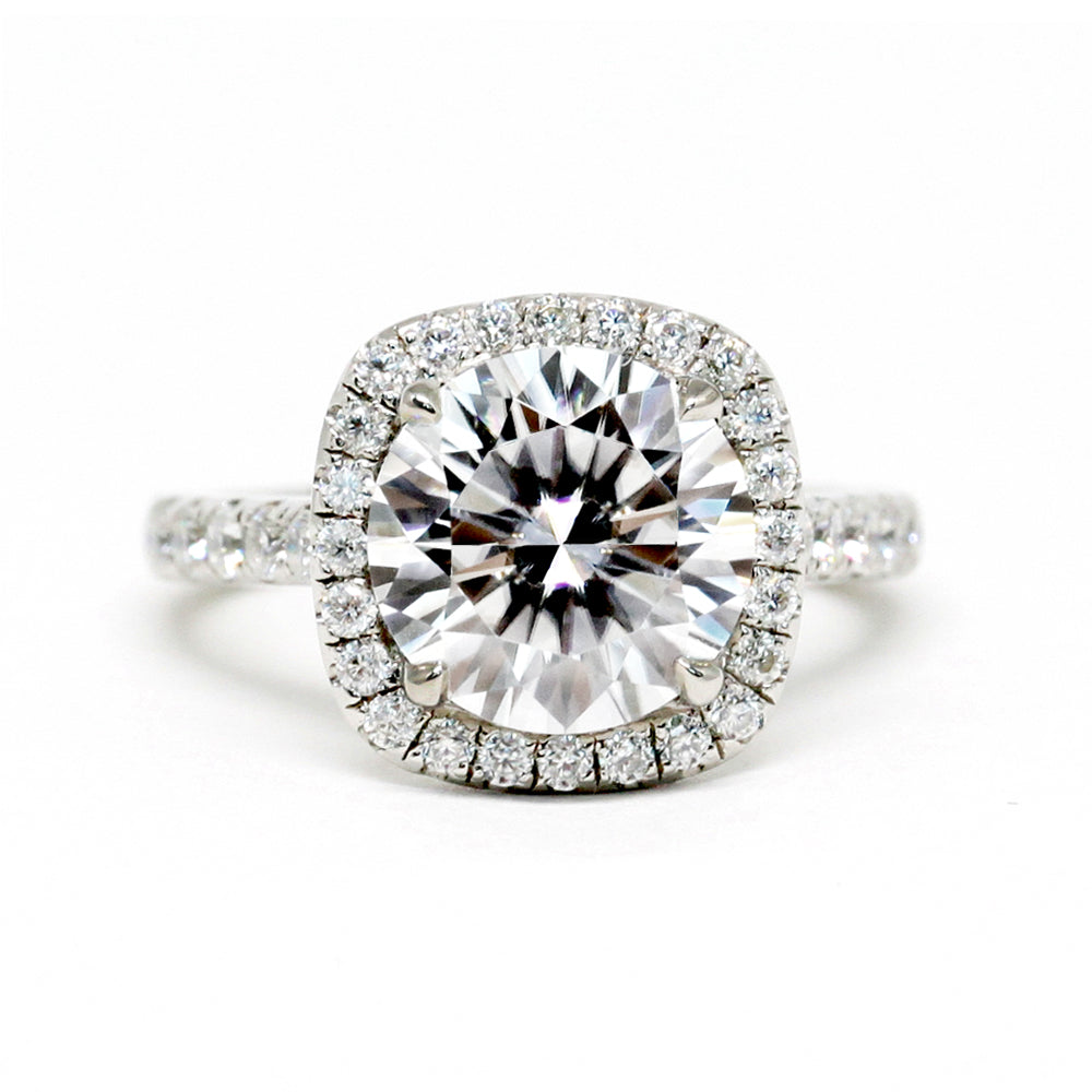 3 Carat Round Moissanite Cushion Halo Platinum Ring
