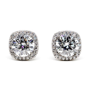 1.5 Carat Round Moissanite Cushion Halo Stud Earrings - LeCaine Gems