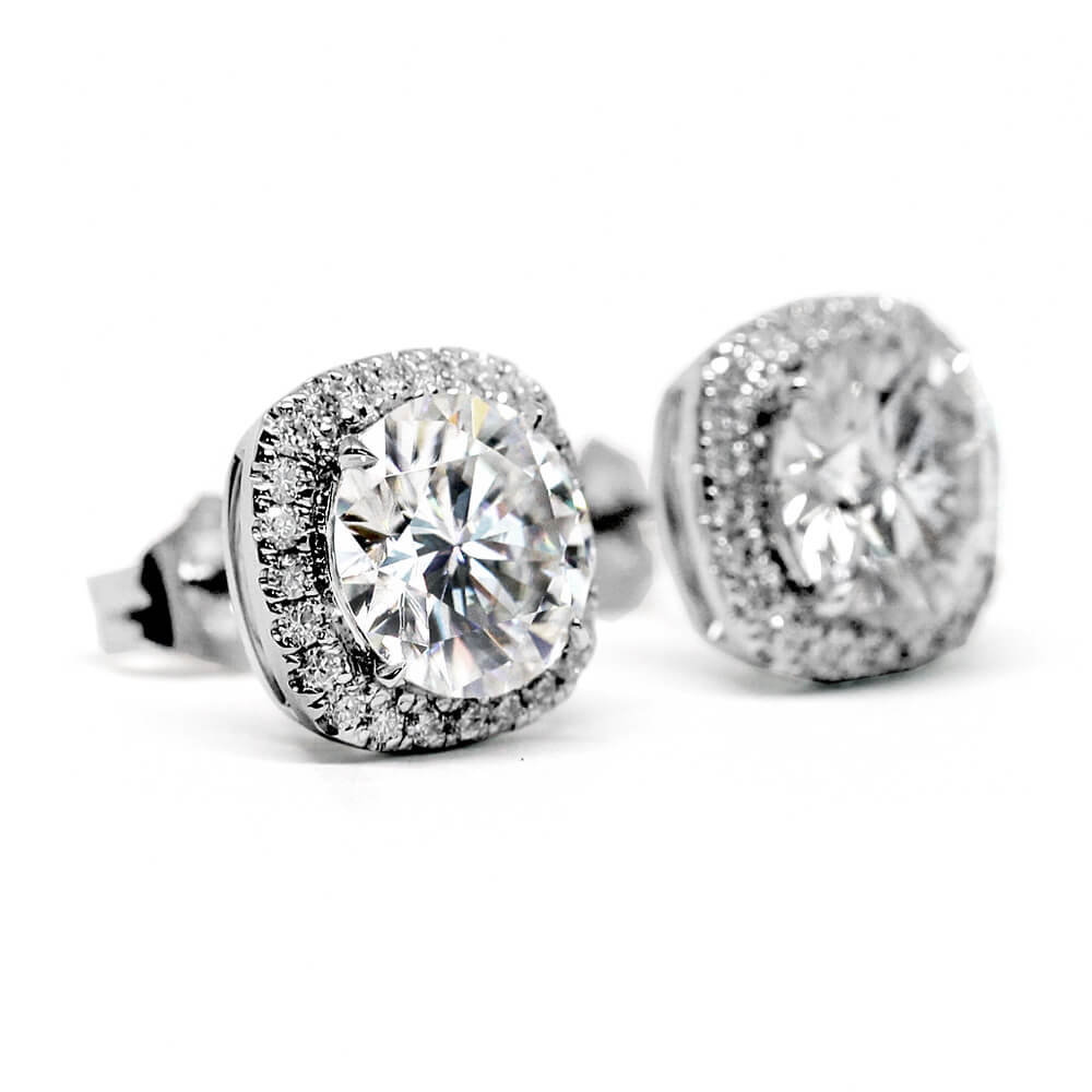 1.5 Carat Round Moissanite Cushion Halo Stud Earrings