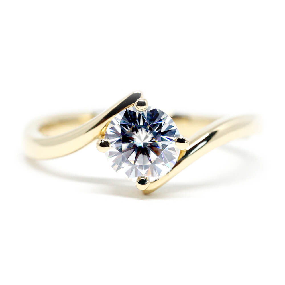 Jolleen Solitaire Moissanite Minimalistic Open Styled Ring - LeCaine Gems