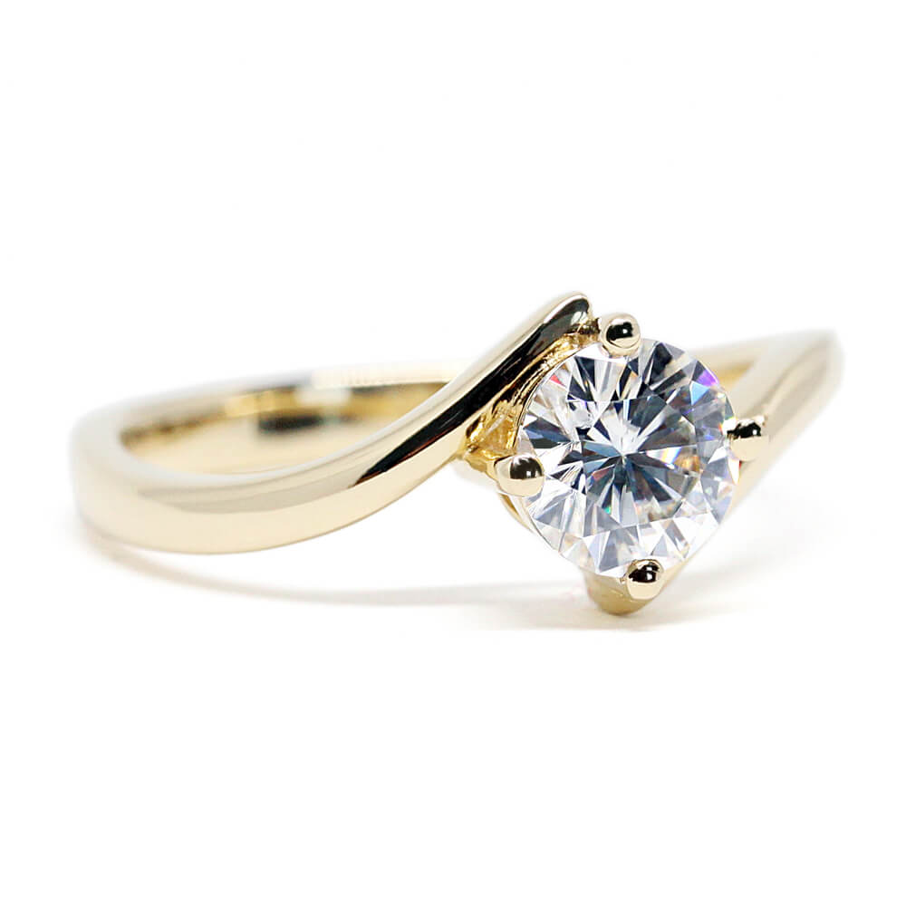 1 Carat Moissanite Ring set on a Twist Band