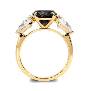 Demi Dark Grey Trilogy Engagement Ring Moissanite 18K Yellow Gold - LeCaine Gems
