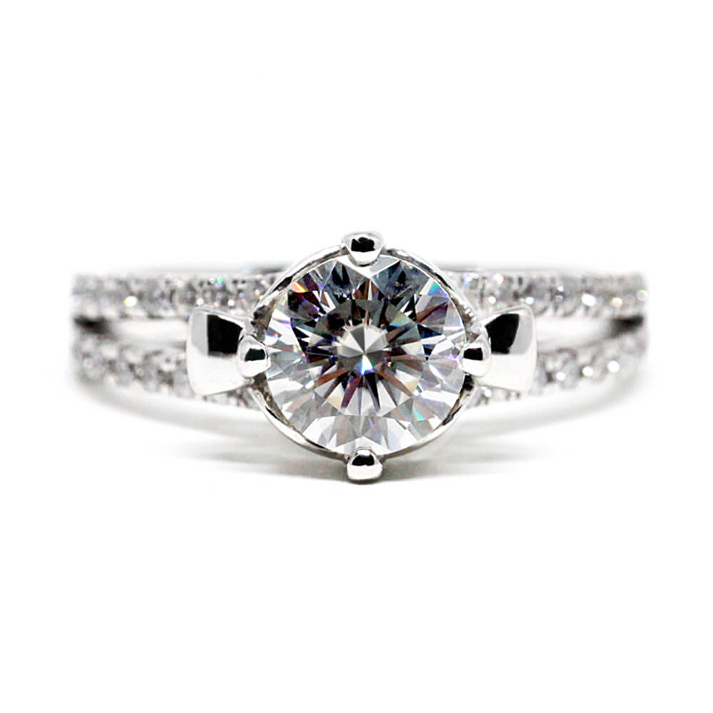 Round Moissanite Solitaire Accents White Gold Ring