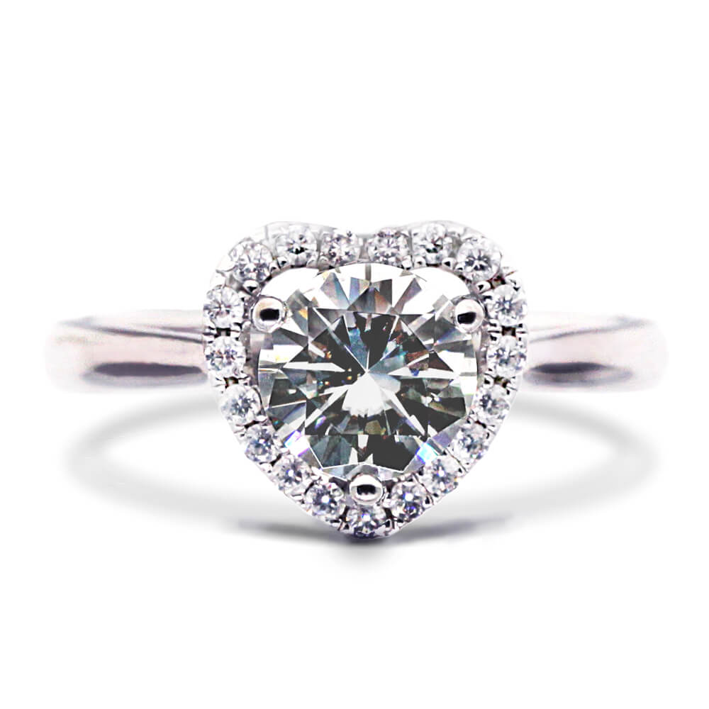 1 Carat Heart Shaped Halo Round Moissanite Ring
