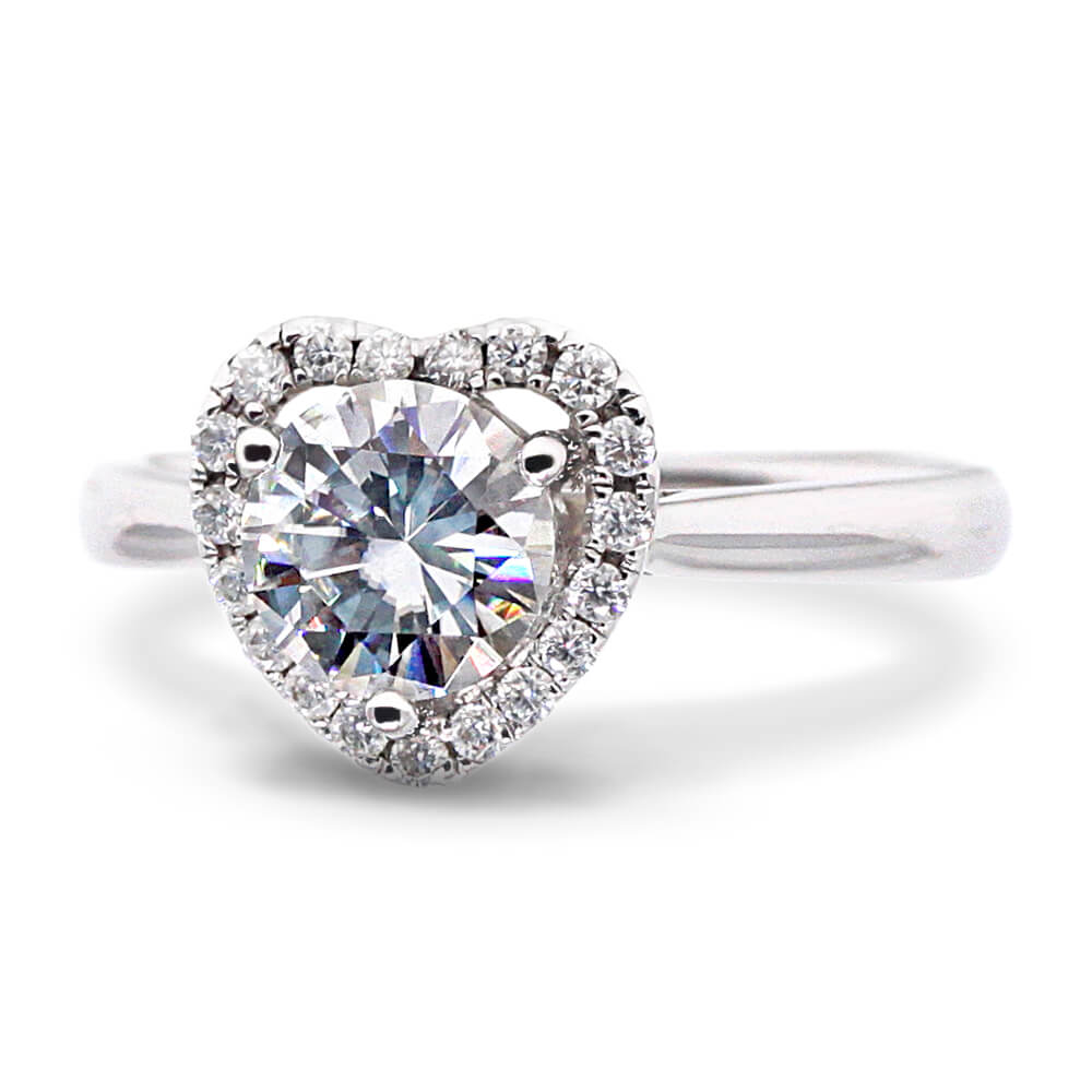 1 Carat Heart Shape Halo Round Moissanite Ring