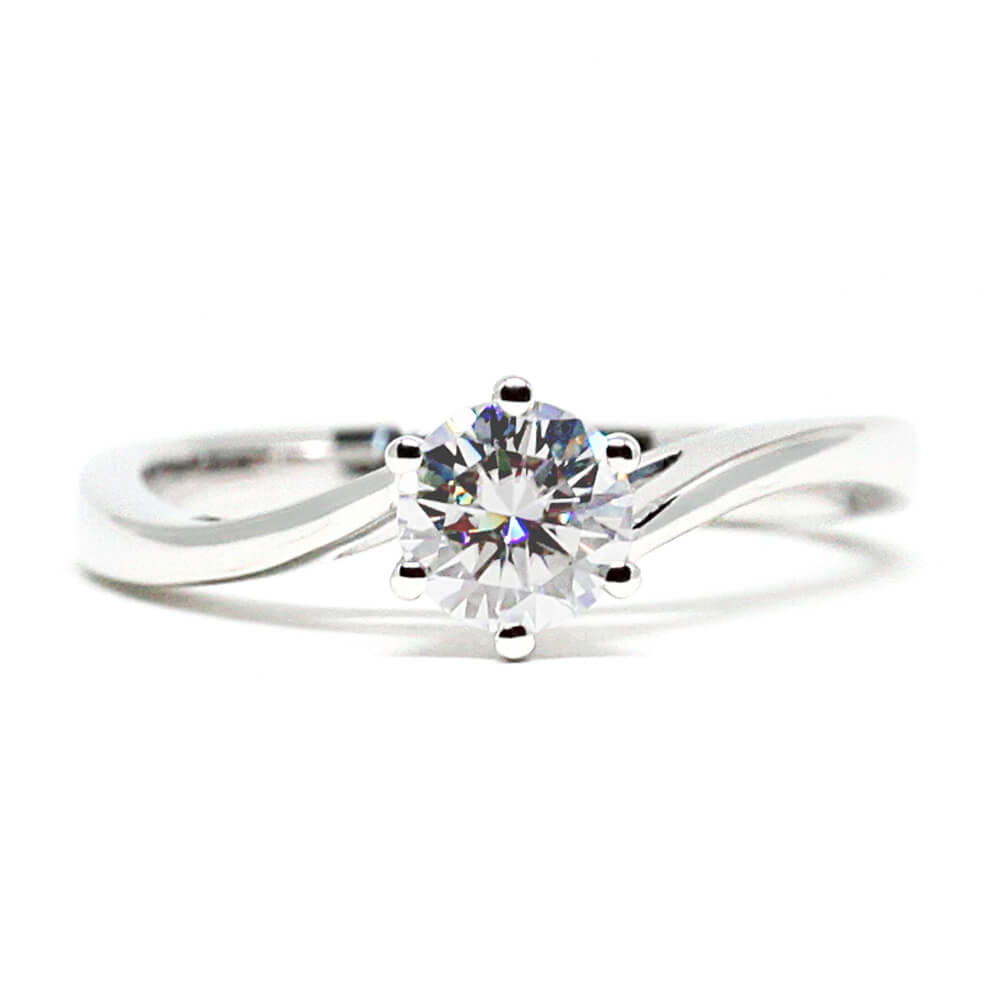 Vee Ring 0.5 Carat Solitaire 6 Prongs 18K White Gold - LeCaine Gems
