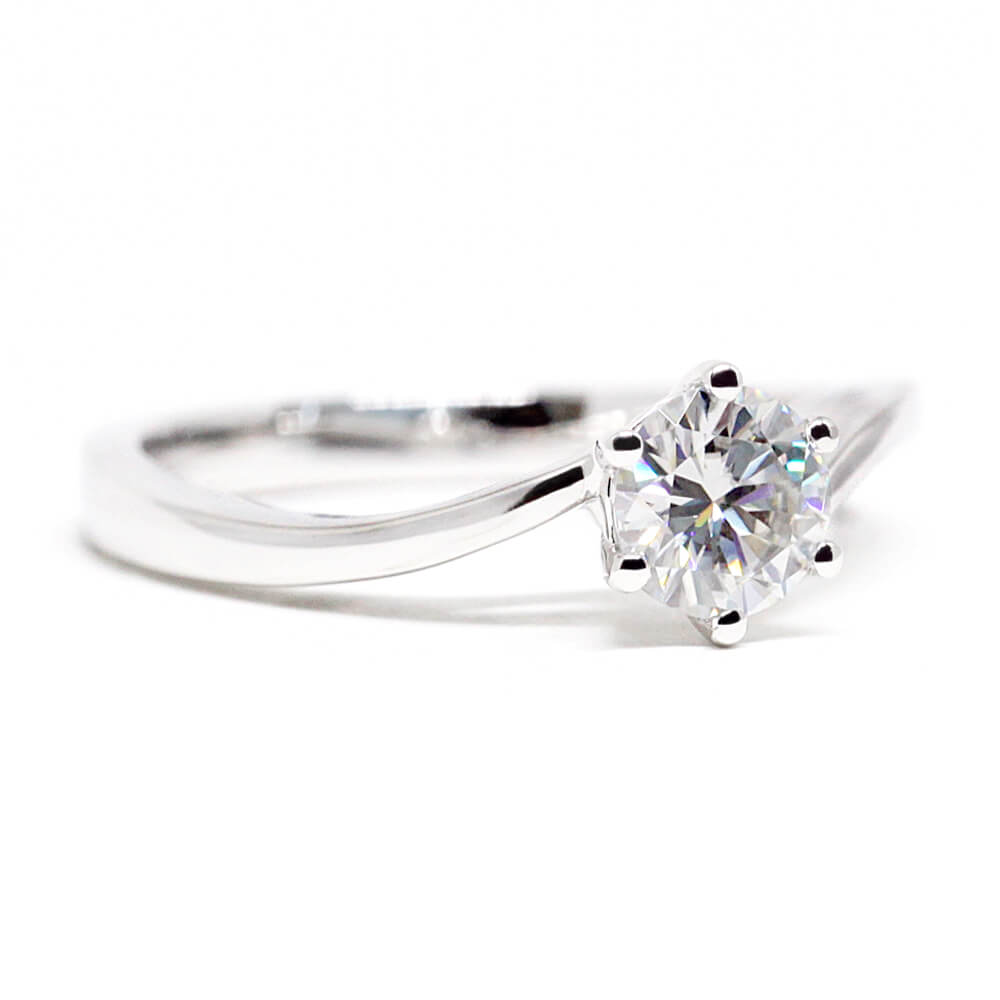 Round Moissanite Solitaire White Gold Ring