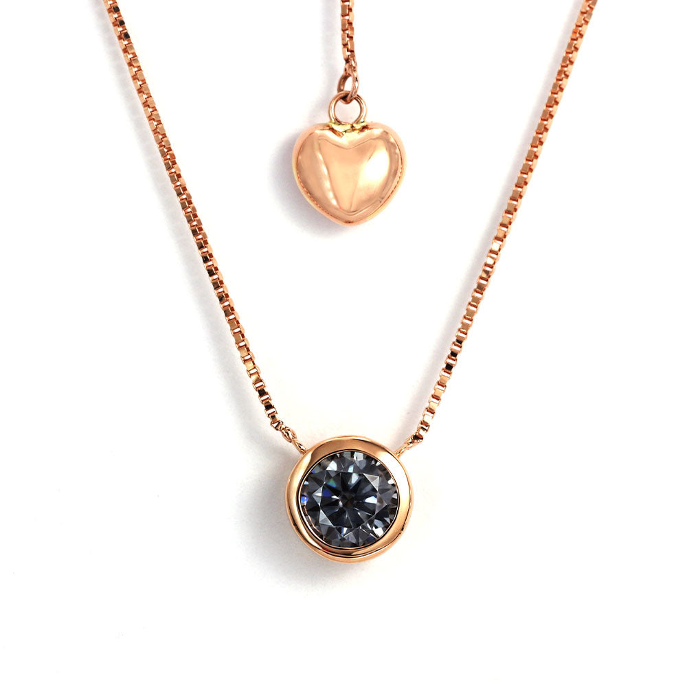 Ready Made | 0.5 Carat Grey Blue Moissanite Round Solitaire Bezel 18K Rose Gold Pendant - LeCaine Gems