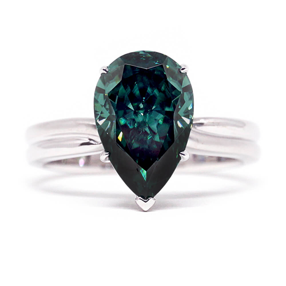 4 Carat Green Pear-Cut Teardrop Moissanite Ring