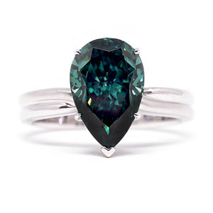 Ready Made | Helen Green Pear-Cut Teardrop Moissanite Ring - LeCaine Gems