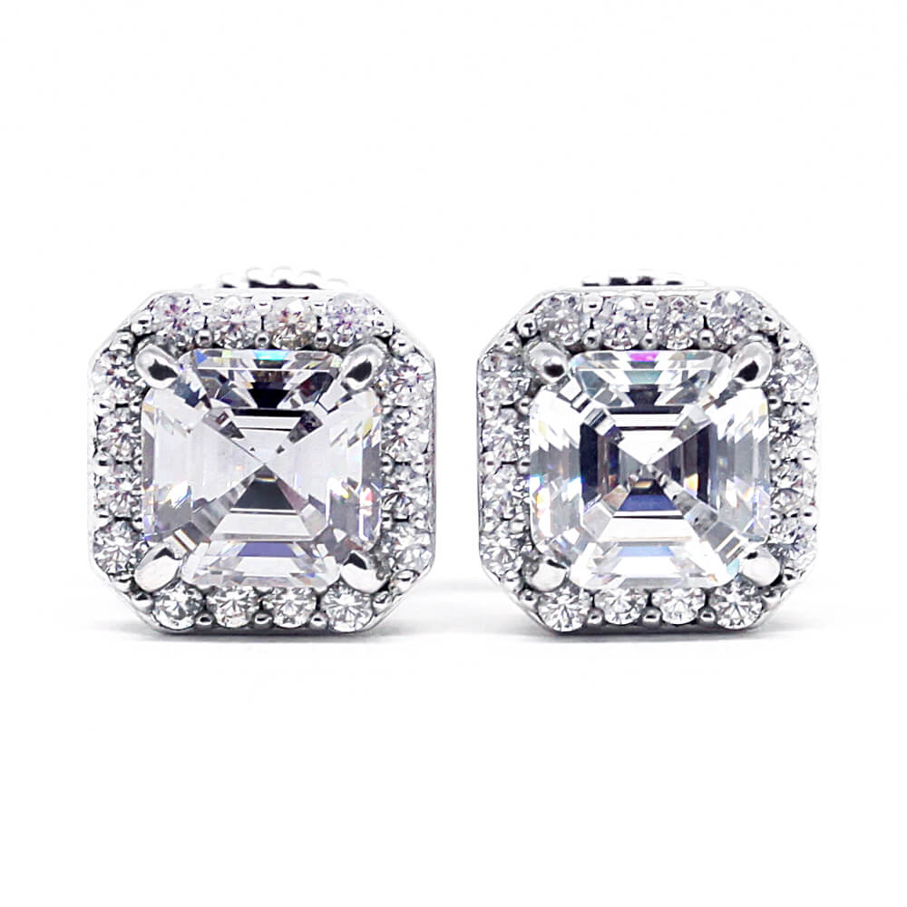 1.5 Carat Asscher Moissanite Square Halo Stud Earrings - LeCaine Gems