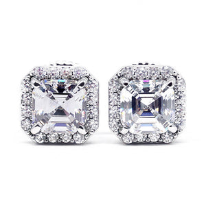 Asscher Cut Moissanite Square Halo Stud Earrings - Lecaine Gems Moissanite