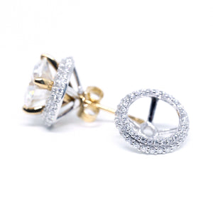 Stud Earrings with Moissanite Halo Jackets - LeCaine Gems