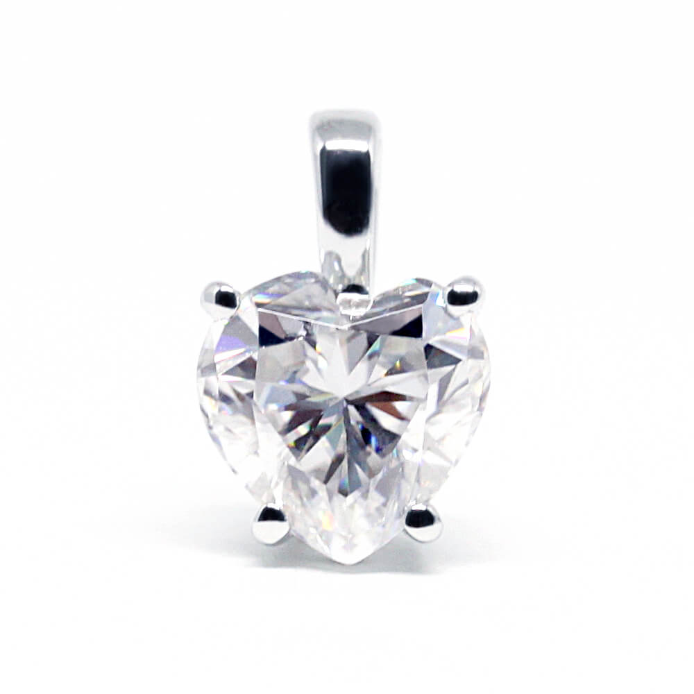 Ready-Made | 1 carat Heart Shaped Moissanite 18K White Gold Pendant - Lecaine Gems Moissanite