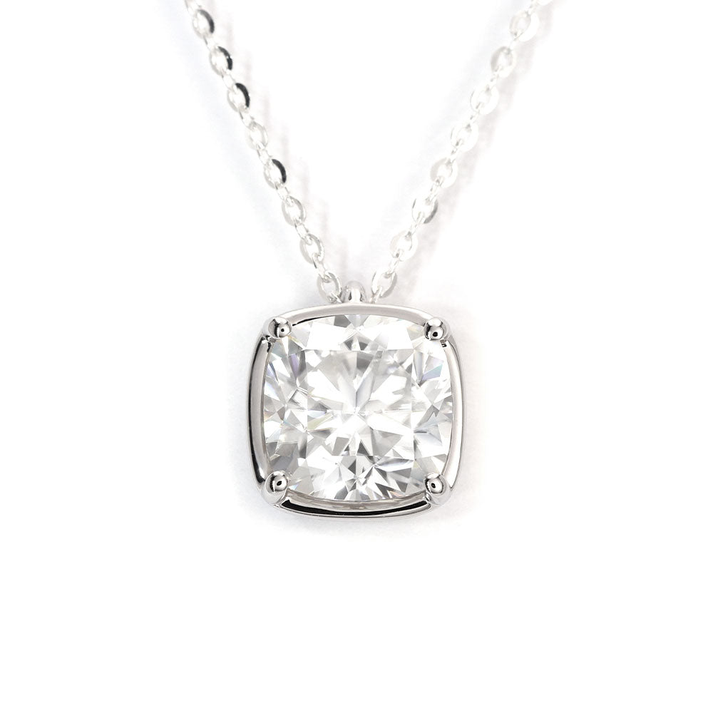Cushion Cut Moissanite with Heart Basket 18K Gold Pendant - LeCaine Gems