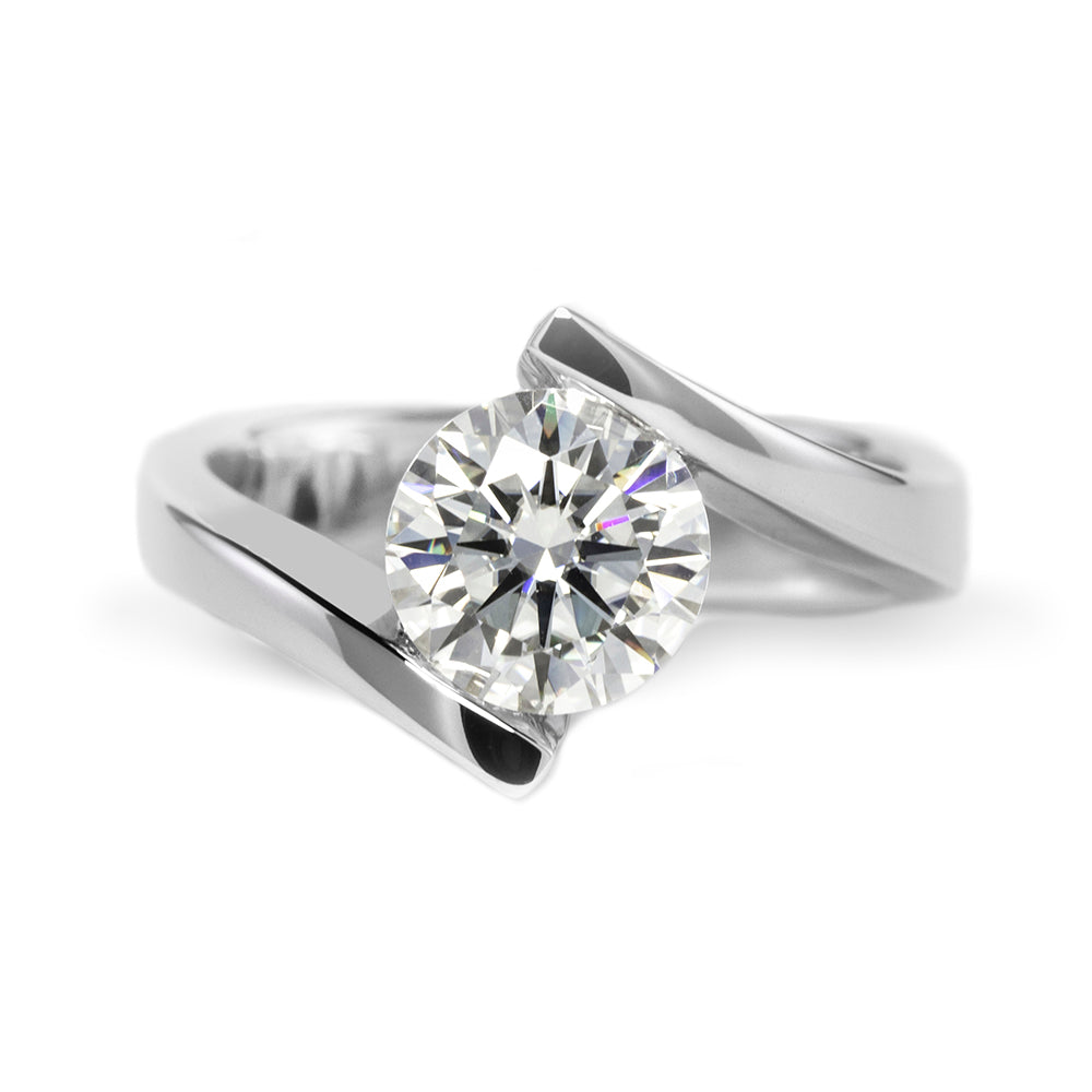 2 Carat Round Moissanite Tension Ring 18K White Gold - LeCaine Gems