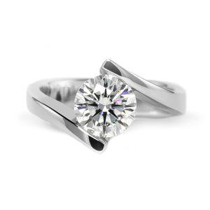 2 Carat Round Moissanite Tension Ring 18K White Gold - Lecaine Gems Moissanite