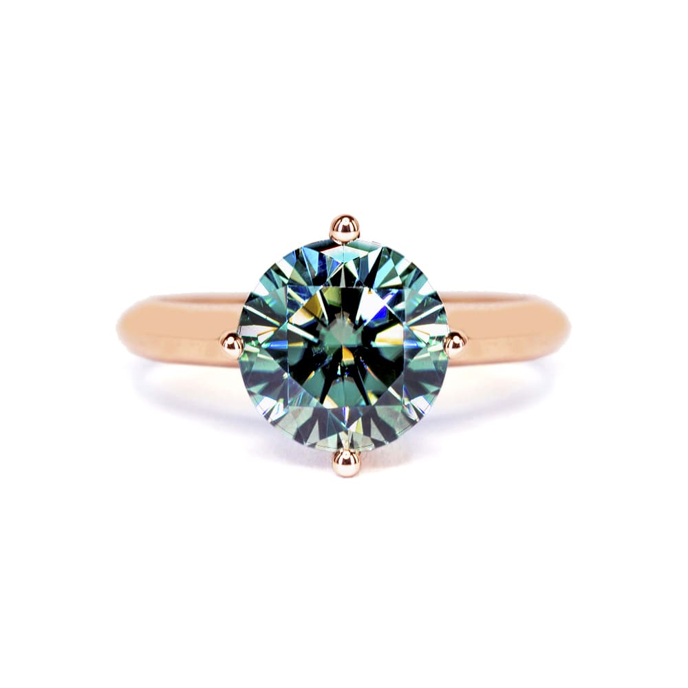 Medium Green Moissanite Solitaire 4 Prong 18K Rose Gold Ring - Lecaine Gems Moissanite