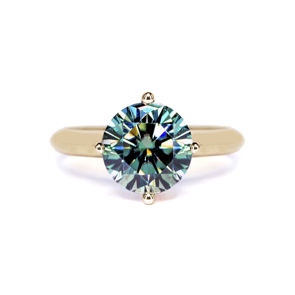 Medium Green Moissanite Solitaire 4 Prong 18K Yellow Gold Ring - Lecaine Gems Moissanite