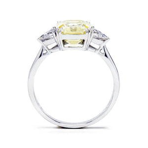 Stefani Fancy Yellow Asscher Moissanite with Trillion Side Stones - LeCaine Gems