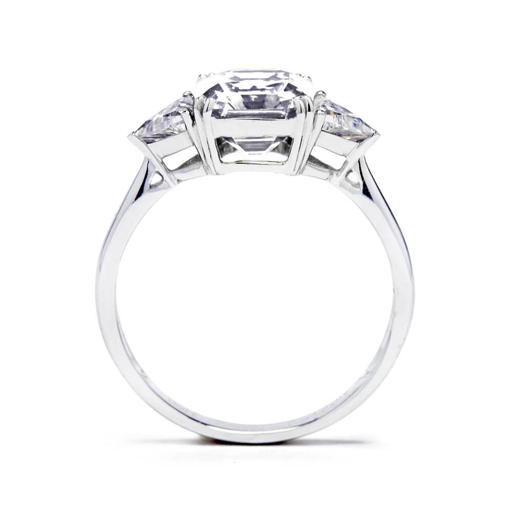 2 Carat Asscher Moissanite with Trapezoid Side Stones