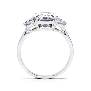 Asscher Moissanite with Trapezoid Side Stones - LeCaine Gems