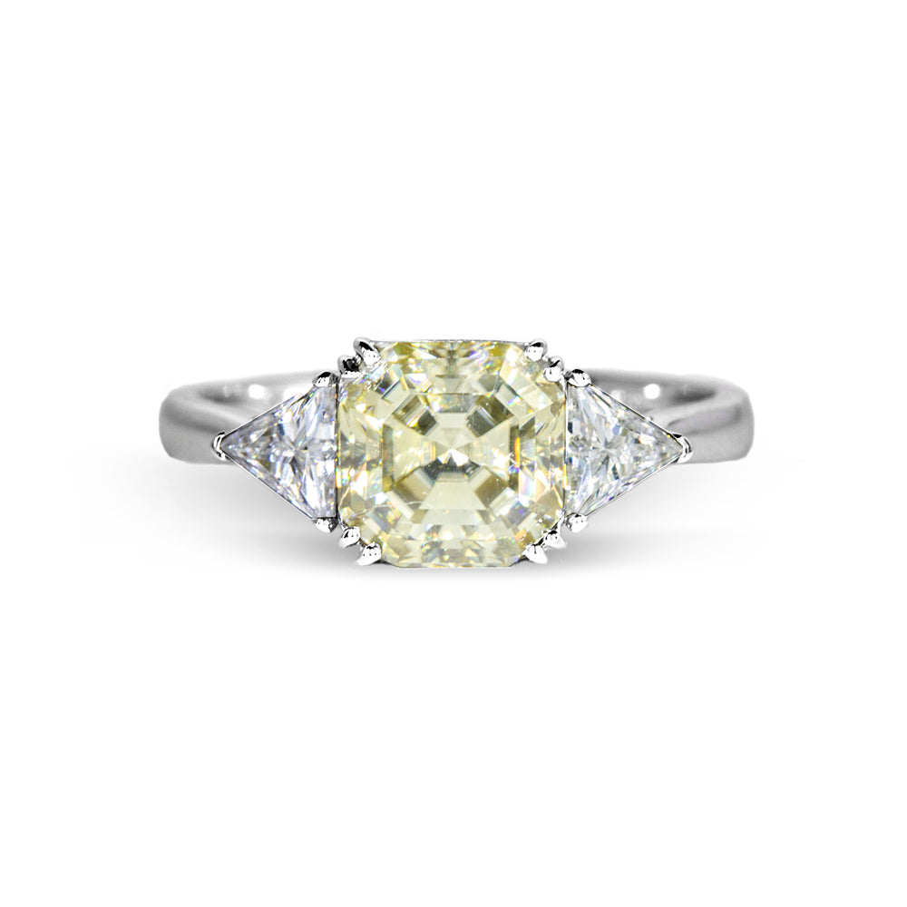 2 Carat Fancy Yellow Asscher Moissanite with Trapezoid Side Stones