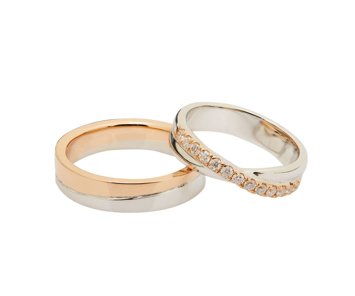 Johannah 18K Duo Gold Matching Wedding Rings with Moissanite - LeCaine Gems