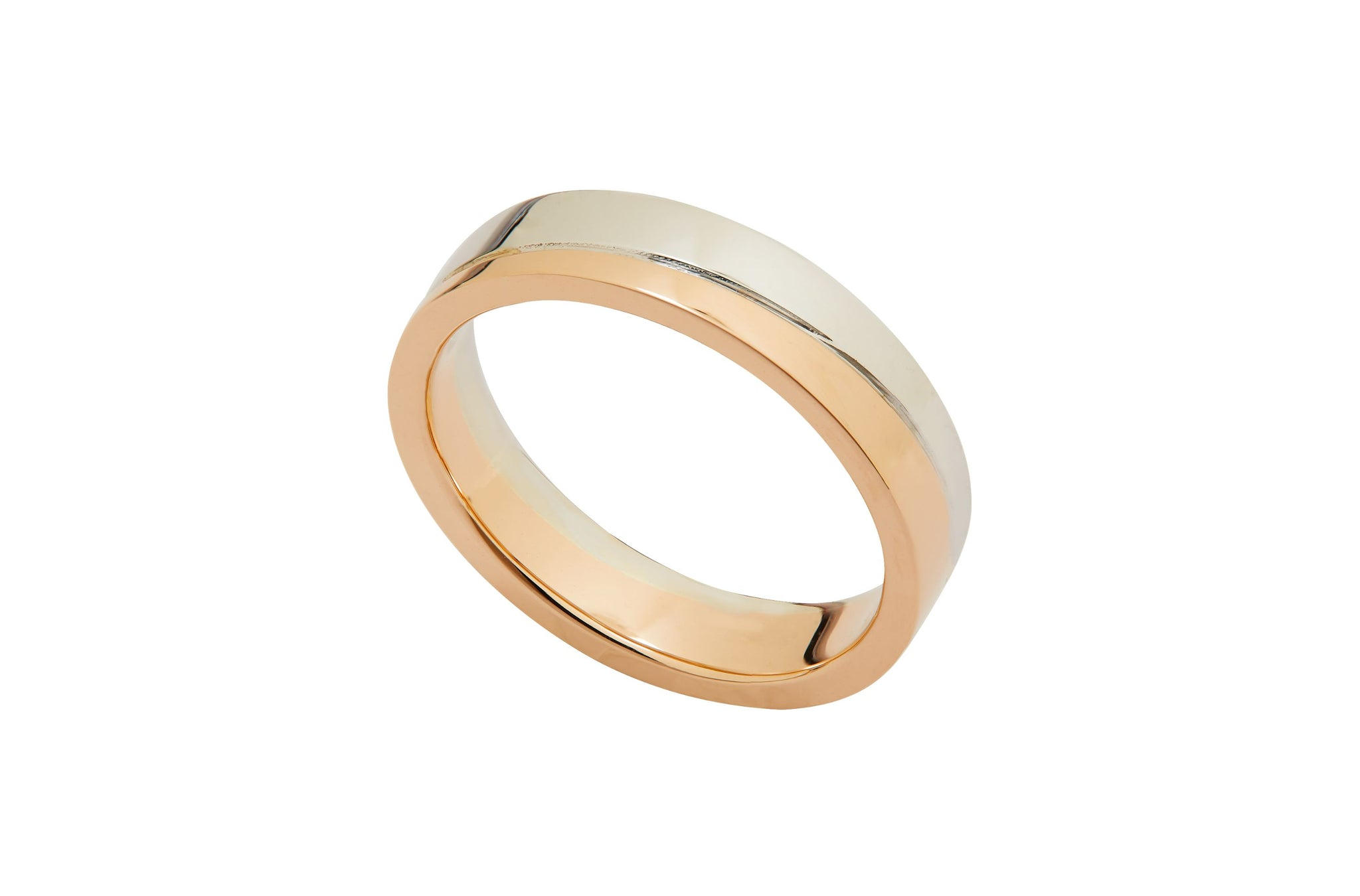 Johannah 18K Duo Gold Matching Wedding Rings with Moissanite