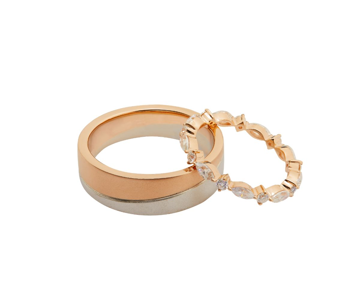 Treser Marquise & Round Pave Full Eternity 18K Rose Gold Ring & Duo Tone Men Ring