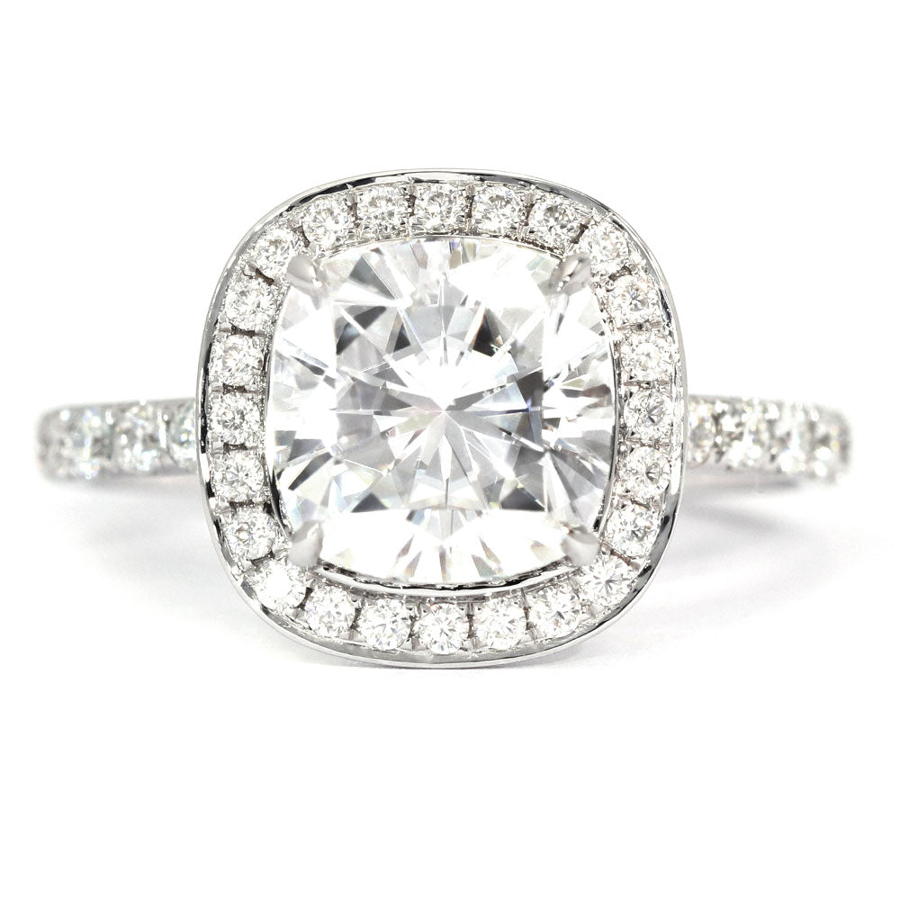Lauren Cushion Moissanite Halo Ring - LeCaine Gems