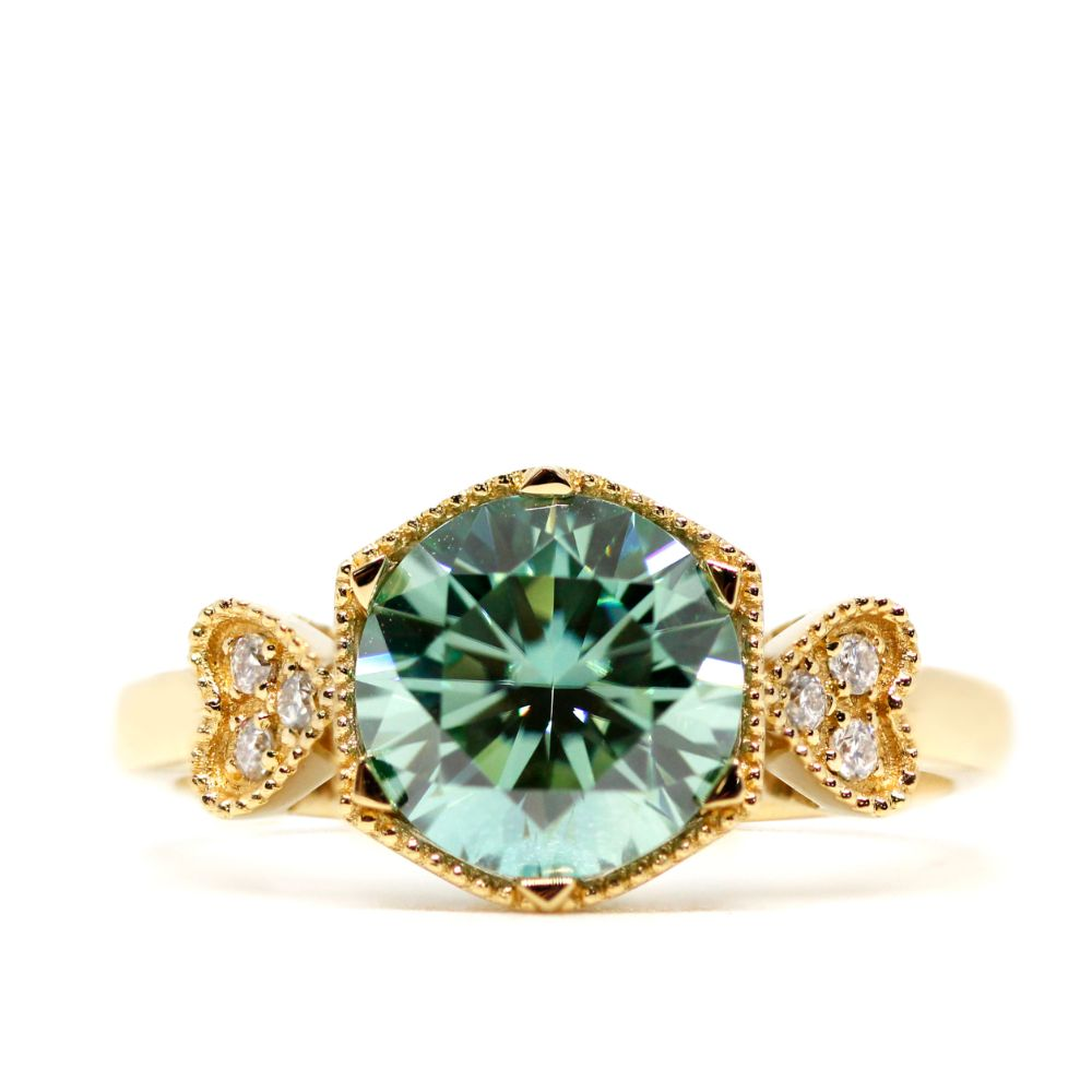 Linnet Mint Green Moissanite with Side Stones 18K Yellow Gold Art Deco Ring - Lecaine Gems Moissanite