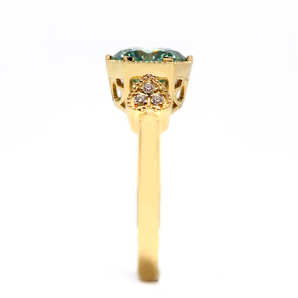 2 Carat Mint Green Moissanite with Side Stones 18K Yellow Gold Art Deco Ring - LeCaine Gems
