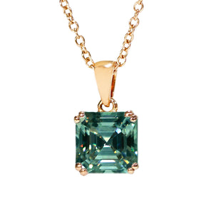 Dark Green Moissanite Asscher Cut 18K Gold Pendant - Lecaine Gems Moissanite