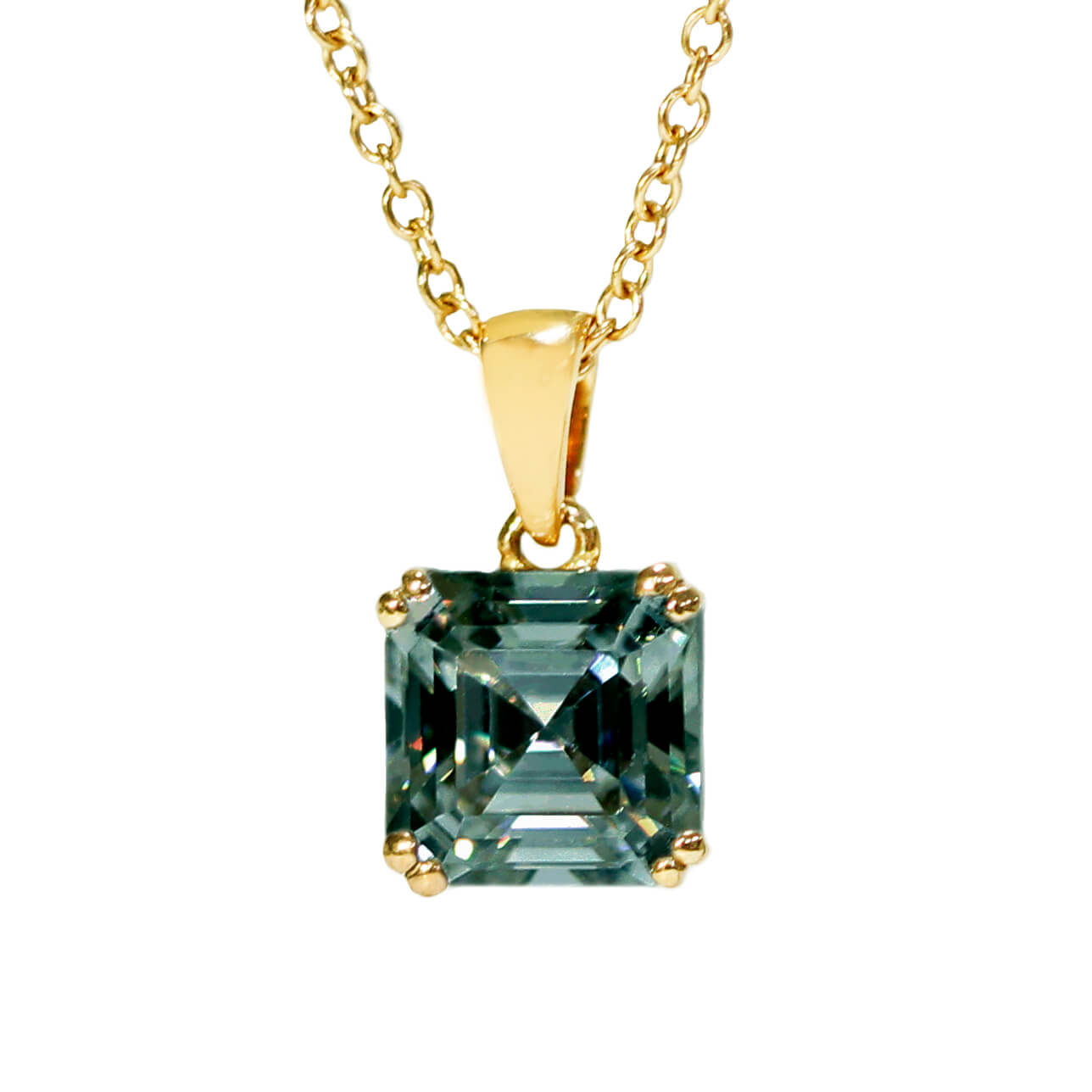 Dark Green Moissanite Asscher Cut 18K Yellow Gold Pendant