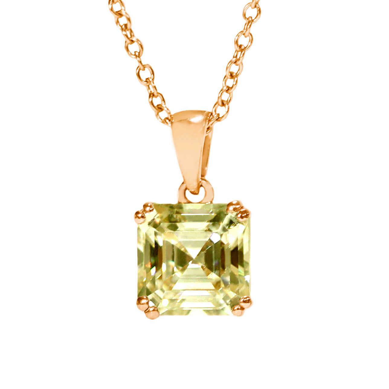 Intense Yellow Moissanite Asscher Cut 18K Rose Gold Pendant