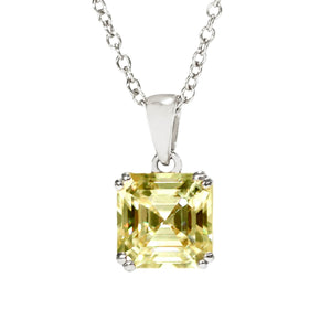 Intense Yellow Moissanite Asscher Cut 18K White Gold Pendant