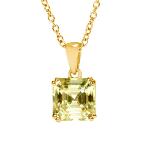 Intense Yellow Moissanite Asscher Cut 18K Yellow Gold Pendant