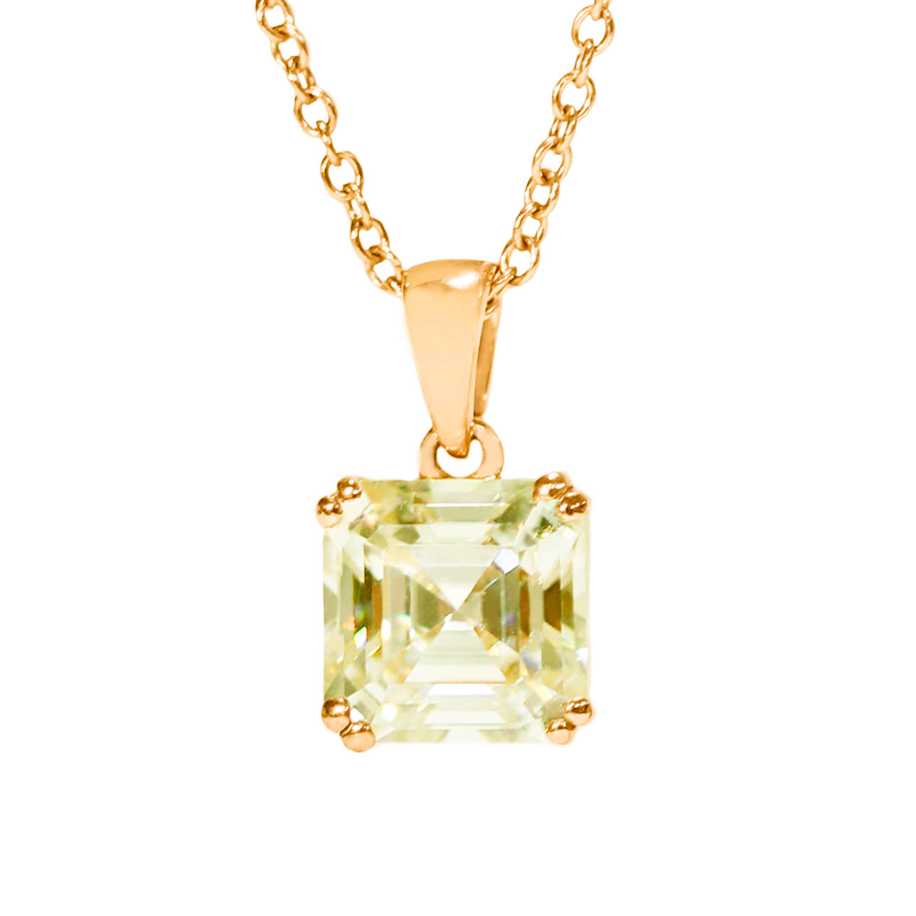 Fancy Yellow Moissanite Asscher Cut 18K Gold Pendant - Lecaine Gems Moissanite
