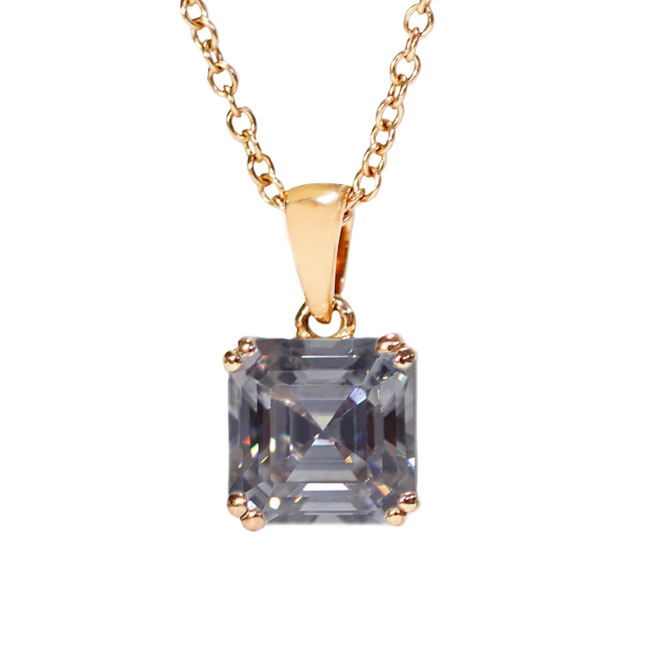 Grey Moissanite Asscher Cut 18K Rose Gold Pendant