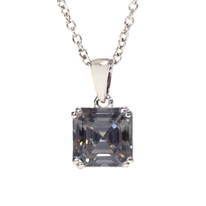 Grey Moissanite Asscher Cut 18K Gold Pendant - Lecaine Gems Moissanite