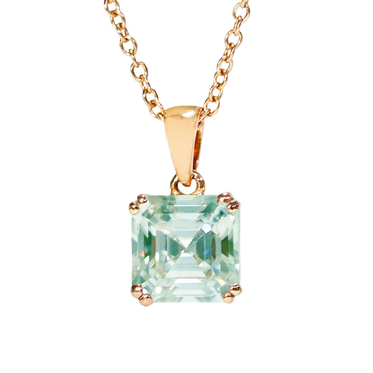 Mint Green Moissanite Asscher Cut 18K Gold Pendant - Lecaine Gems Moissanite