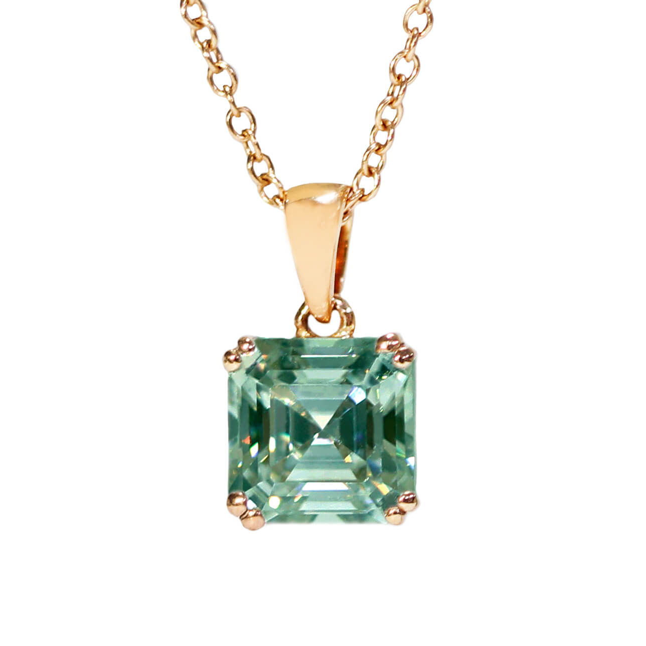 Medium Green Moissanite Asscher Cut 18K Gold Pendant - Lecaine Gems Moissanite