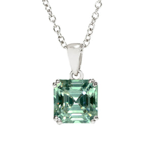 Medium Green Moissanite Asscher Cut 18K White Gold Pendant