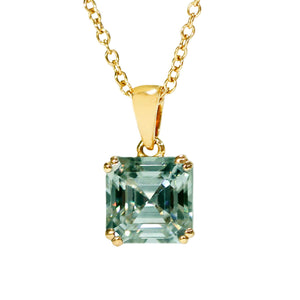 Medium Green Moissanite Asscher Cut 18K Yellow Gold Pendant