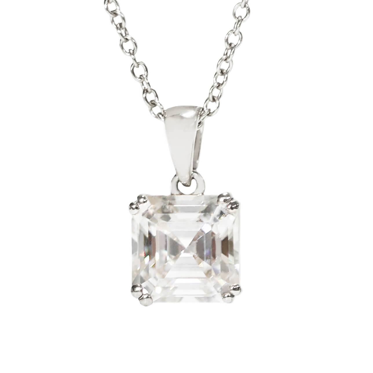 Asscher Cut Moissanite 18K White Gold Pendant